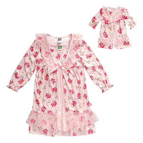 Dollie & Me Little Girls' Rose Pretty Sleep Nightgown Set, Pink, 6 (Pretty Girl Outfits)