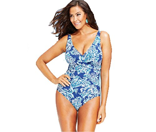 dabe20b1d5729 Lauren Ralph Lauren Plus Size Printed Twist-Front Swimsuit Lagoon 16W