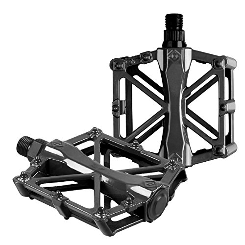 Bike Pedals - Aluminum CNC Bearing Mountain Bike Pedals - Road Bike Pedals with 16 Anti-skid Pins - Lightweight Bicycle Platform Pedals - Universal 9/16