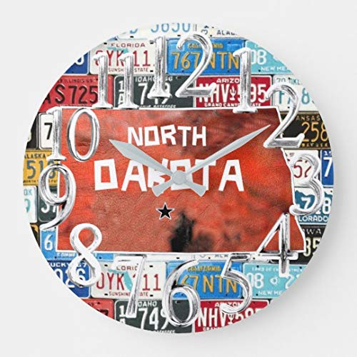 TattyaKoushi 15 by 15-inch Wall Clock, North Dakota,State of USA, w/License Plate Large Clock, Decorative Indoor Kitchen Clock