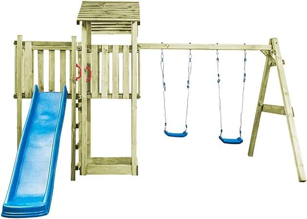 Tidyard - Juego de casa de Juegos con Escalera de Escalada, tobogán y 2 Columpios para jardín para niños, Marco de Madera FSC 252 x 432 x 218 cm: Amazon.es: Hogar