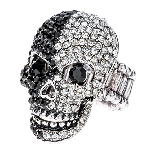 Szxc Jewelry Women's Crystal Skull Stretch Scarf Rings Clasp Clip Buckle Biker Jewelry