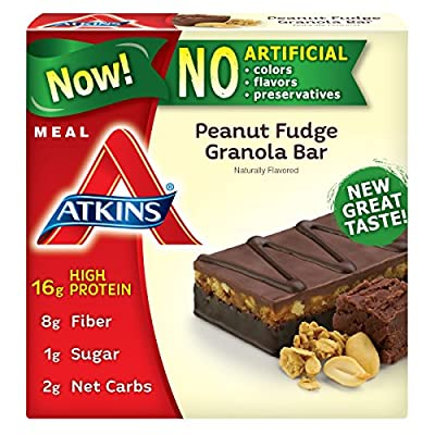 Atkins Meal Bar, Peanut Fudge Granola, 5 Bars