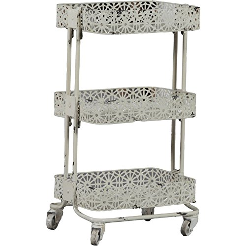 Round Pierced Basket (Cream Pierced Metal Flora Design 3 Shelves Tier Utility Cart)