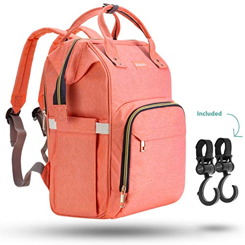 Zuzuro Diaper Mommy Bag – Waterproof Backpack w/Large Capacity & Multiple Pockets for Organization. Ideal for Travel Nappy Bags – W/Insulated Bottle Pocket. 2 Stroller Hooks Incl (Coral)