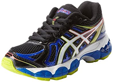 ASICS Gel Nimbus 15 GS Running Shoe,Black/White/Multi,1 M US Little Kid