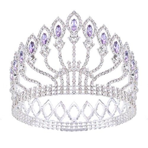 Stuffwholesale Marquise Crystal Crown Women Girl Queen Tiara Banquet Party Headwear (Silver/Purple)