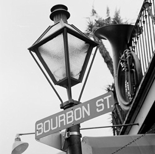 USA Louisiana New Orleans French Quarter Bourbon Street sign on lamppost Poster Print (24 x ()