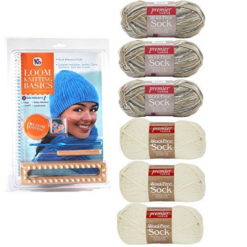 Authentic Knitting Board Loom Knitting Basics Kit Knitting Looms Bundle including 6 Skeins Yarn (Cream and Neutral)
