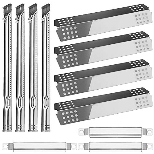 Quanzhongdian Repair Kit, Stainless Heat Plate Tent Shield, Grill Pipe Burners, Carry Over Crossover Tube Replacement Repair kit for Charbroil 4 Burner 463241113, 463449914 Gas Grill Models