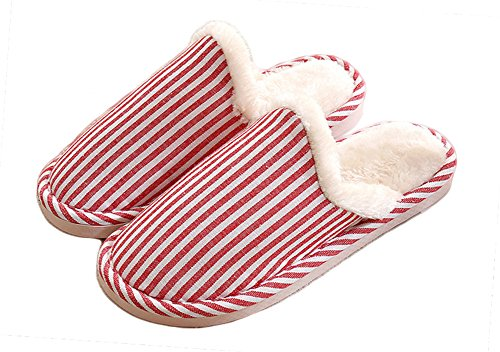 Auspicious beginning Lovers Vertical Stripe House Slipper Bedroom Shoes Red