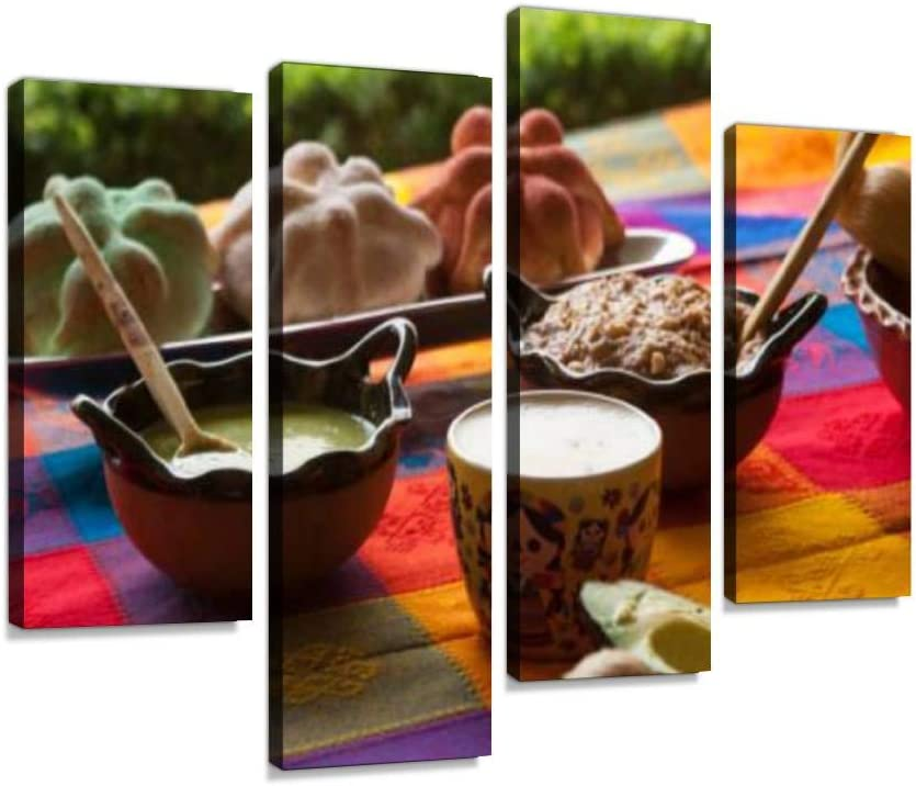 Mexican Food on oaxacan Tablecloth The Day of The Deads and Pictures Canvas Wall Art Hanging Paintings Modern Artwork Abstract Picture Prints Home Decoration Gift Unique Designed Framed 4 Panel