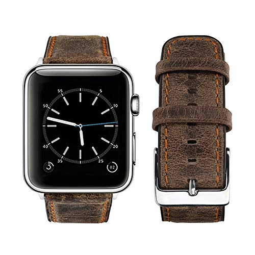 top4cus Genuine Leather iwatch Strap Replacement Band Stainless Metal Clasp, Compatible Apple Watch Series 4 Series 3 Series 2 Series 1 and Sport Edition (Retro Brown, 44 mm) ()