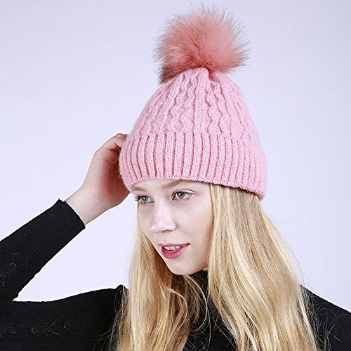 pompones de con y gorro de de piel Acvip mujer Sombrero rosa jacquard SwgUq161
