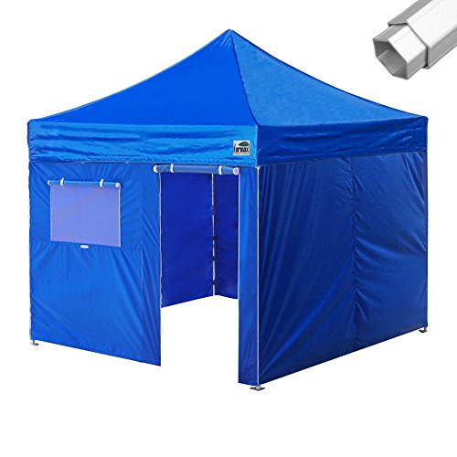 Eurmax PRO 10X10 Pop up Canopy Wedding Party Commercial Tent W/4 Walls +Roller Bag (Blue)