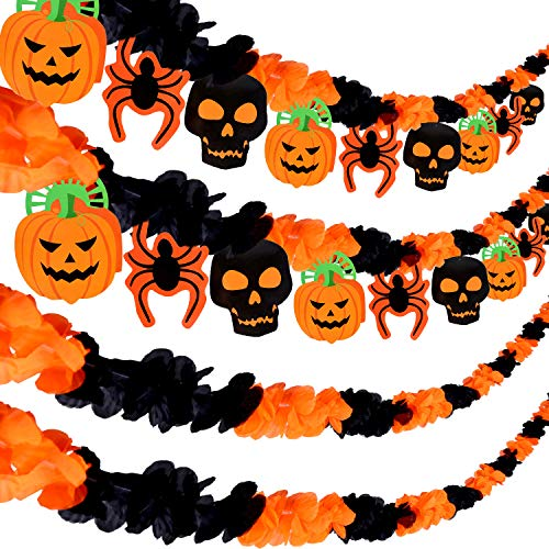 (Tatuo 8 Pieces Halloween Banner Halloween Silk Garland with Pumpkin Skull Spider Hanging Banner Flags for Halloween Party Decoration)