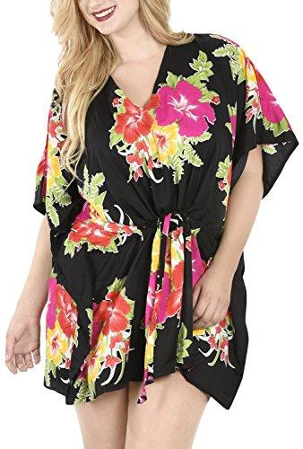 La Leela 5 en 1 hibisco floweret suave vestido traje baño superior corto túnica cordón ropa playa hawaiana más szie damas Caribe partido cordón playa caftán corto loungewear encubrimiento dbikini salón rosa