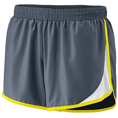 Augusta Sportswear Women's Junior FIT Adrenaline Short L Graphite/White/Power Yellow