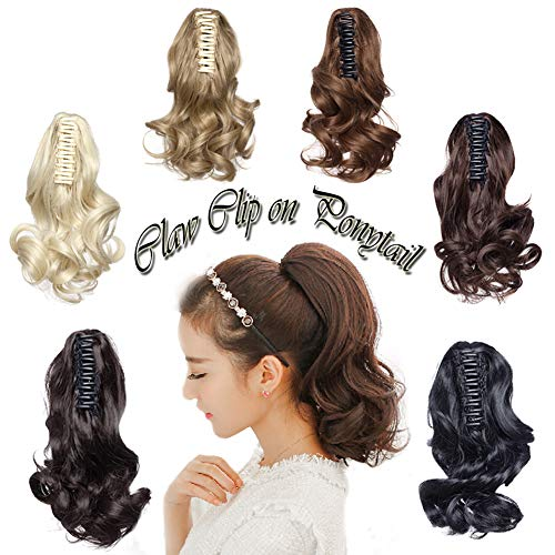 (Claw on Ponytail Jaw Clip in 12 inch Long Curly Pony Tail Hair Extensions Synthetic Short Wavy Hairpiece Black Brown Blonde)