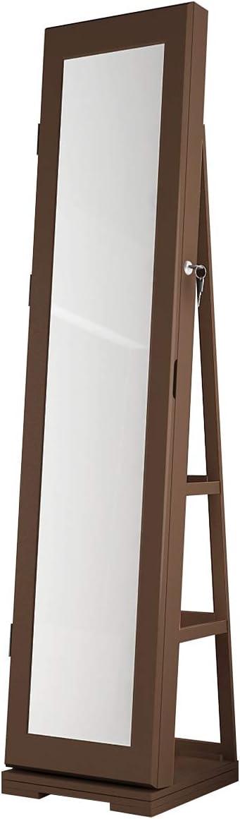 Bloccabile a Chiavi Girevole a 360/° DlandHome Portagioielli da Armadio con Specchio Armadietto di Portagioie con Ripiani Portaoggetti