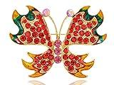Alilang Fiery Fire Ruby Red Crystal Rhinestone Butterfly Jewelry Pin Brooch