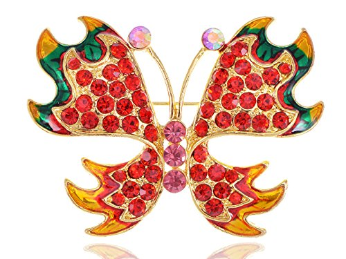 Alilang Fiery Fire Ruby Red Crystal Rhinestone Butterfly Jewelry Pin Brooch Butterfly Ruby Brooch
