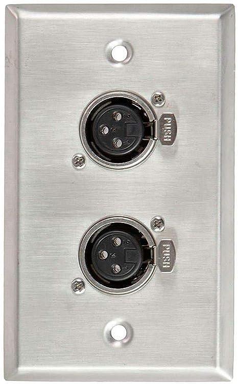Stage Right Series MonoPrice 2-Port 3-Pin XLR Female Zinc Alloy Wall Plate Zinc Alloy Metal