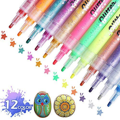 Paint Marker Pens, ARINO Acrylic Paint Pens Highlighter Pens Art Deco Marker Pens for Rock Painting, Ceramics, Wood, Fabric, Glass, Ideal for Christmas Gift Birthday DIY Craft Kids, 12 Colors