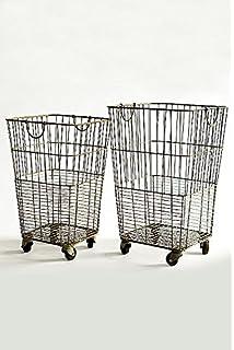 vagabond vintage set of two rolling laundry baskets
