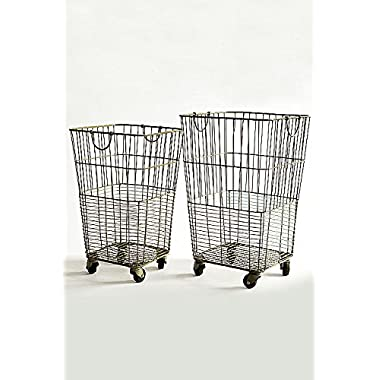 Vagabond Vintage, Set of Two Rolling Laundry Baskets
