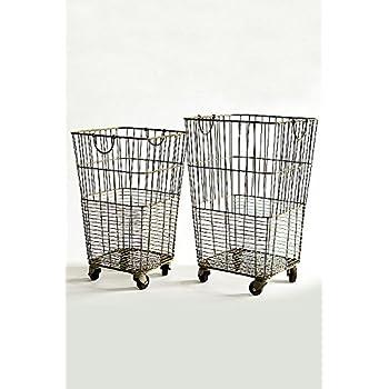 Vagabond Vintage, Set of Two Rolling Laundry Baskets