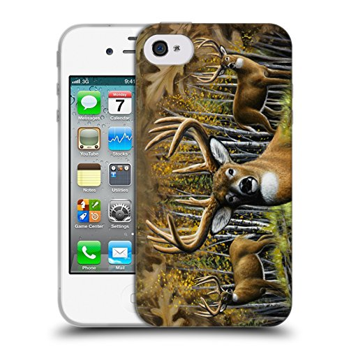 Cooliphone4Cases.com-2828-Whitetail Country Deer Family Soft Gel Case for Apple iPhone 4 / 4S-B01KX49K4O-T Shirt Design