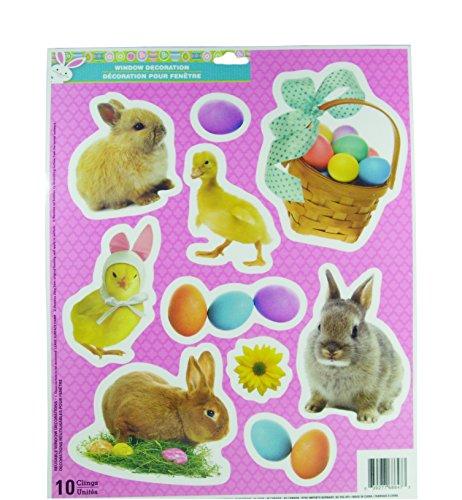 [Easter Decorative Glitter Window Clings - Bunny Rabbits Chicks Ducks & Easter Egg Basket (10 Clings)] (Bunny Window)