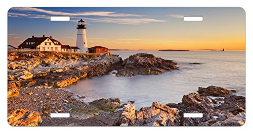 (Ambesonne United States License Plate, Cape Elizabeth Maine River Portland Lighthouse Sunrise USA Coast Scenery, High Gloss Aluminum Novelty Plate, 5.88 L X 11.88 W Inches, Pale Blue)
