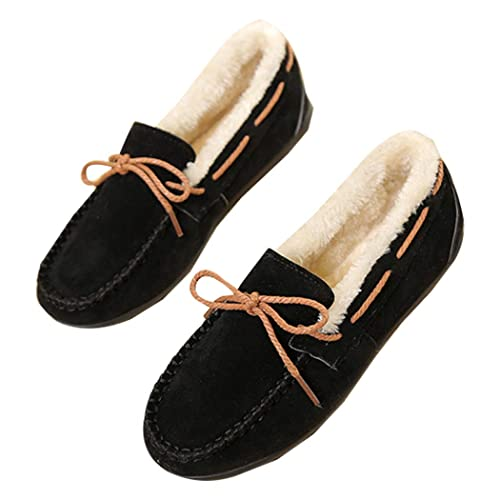 5e3c97bbb07 Ecupper Women s Slipper Suede Faux Fur Lined Indoor Outdoor Moccasins Slip  On