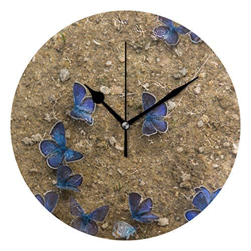 Dozili Blue Butterflies Round Wall Clock Arabic Numerals Design Non Ticking Wall Clock Large for Bedrooms,Living Room,Bathroom (Room Pbteen Design)