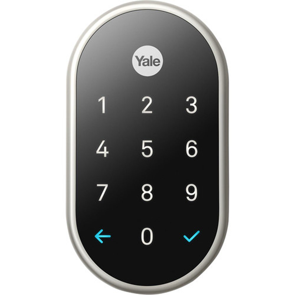Yale Deadbolt Lock with Nest Connect-(Satin Nickel), Silver