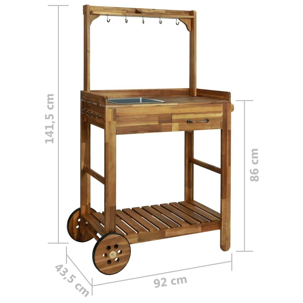 Tidyard Outdoor Wood Serving Cart Indoor Garden Kitchen Trolley Storage  Cart Solid Acacia Wood 36.2\