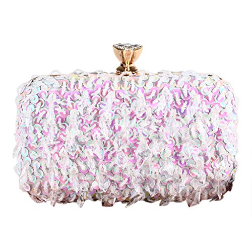 Outique Chain Retro Glitter Clutch,Women Gemstone Pendant Beaded Sequins Evening Bag Clutch Shoulder Cross Bags