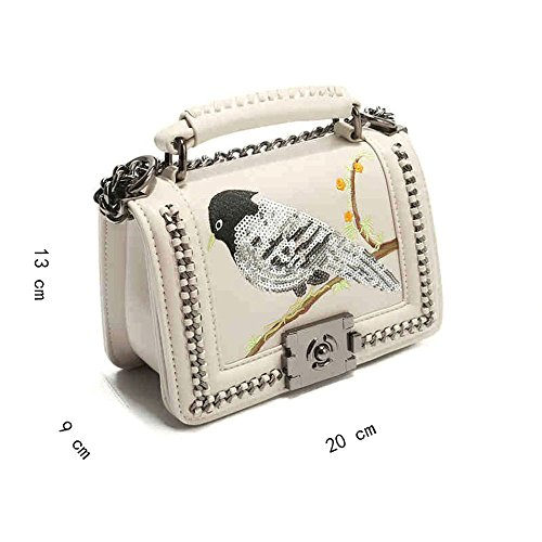 Sac Bandoulière Banquet Mode Broderie Chaîne À Animal Et Fleurs Messenger Whitedeer Oiseaux 2018 Voyage Bq0gww