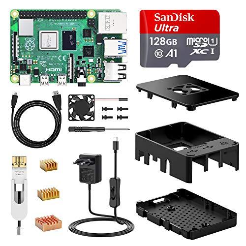 🥇 NinkBox Raspberry Pi 4 Modelo B Kit 【8GB RAM+128GB SD Card 】 Versión Actualizada de Raspberry pi 3b+