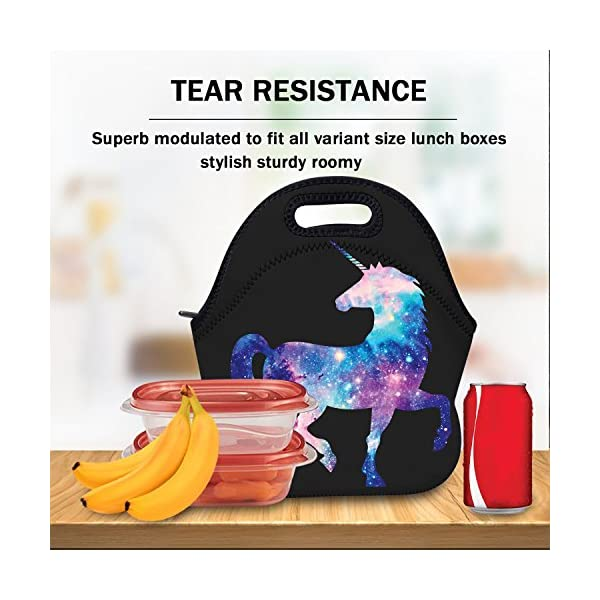 AOTIGO Unicorn Horse Galaxy Space Neoprene Lunch Bag Insulated Lunch Box Waterproof Lunch Tote Bag with Zipper for Women… 5