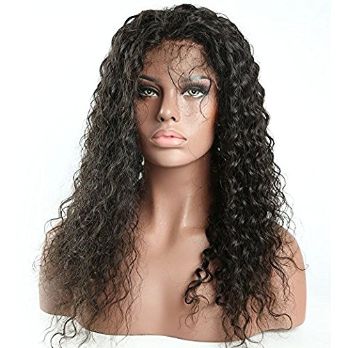 Doubleleafwig Curly Human Hair Lace Front Wigs 130% Density Brazilian Virgin Loose Deep Curly Wig with Baby Hair for Black Women (16 Inch, Full Lace wig) by Doubleleafwig (Image #1)