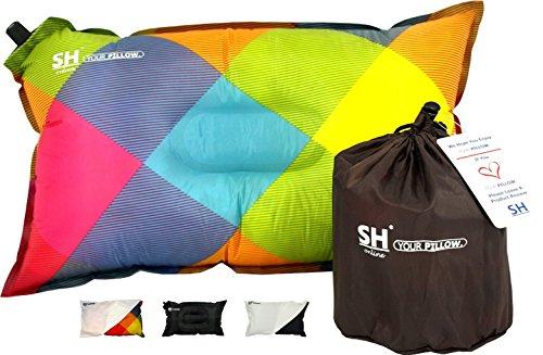 YOUR Pillow! Von SHO - Das Ultimative Selbstaufblasende Reisekissen Für Reise, Camping Und Festivals - Lebenslange Garantie (Mehrfarbig)