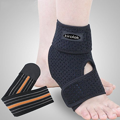 KIROLAK Ankle Support Respirable Tobillo Manga con Ajustable Wraps Ankle Brace Soporte