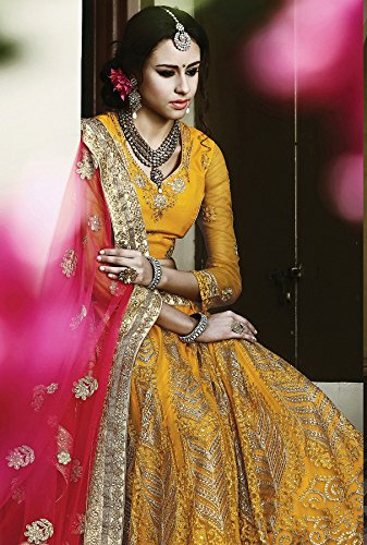 Da Facioun Womens Yellow Striking Lehenga Choli With Embroidery Work 79958
