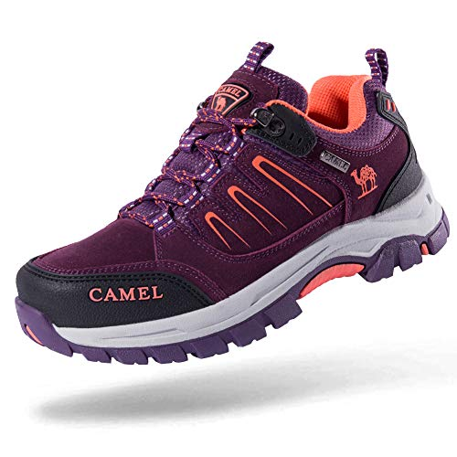 Camel Crown Men's/Women's Breathable Leather Hiking Shoes for Outdoor Camping Trekking Exploring Purple/Black/Orange