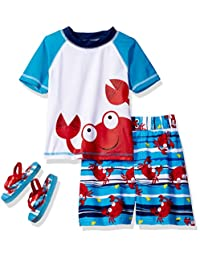 Wippette Little Boys Cute Crabby Rashguard Swim Trunk Set with Flip Flops, Blue, 4T