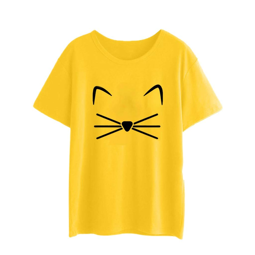 Short Sleeve Tee Blouse for Women,Amiley Womens Cute Cat Print Short Sleeve T Shirts Teen Girls O-Neck Casual Pullover Tops (X-Large, Yellow)