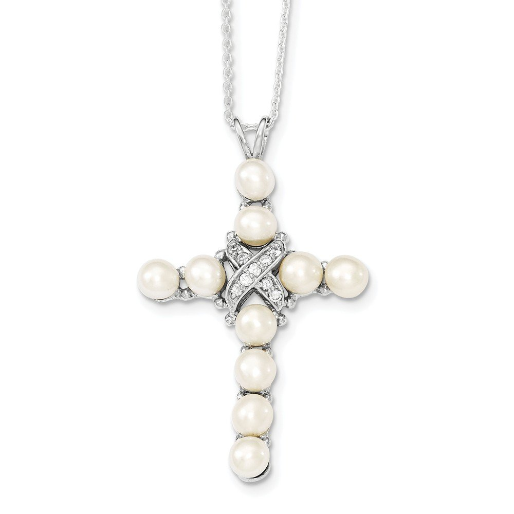 Top 10 Jewelry Gift Sterling Silver Rhodium-plated CZ and FW Cultured Pearl Cross Necklace